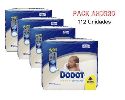 PAÑALES DODOT SENSITIVE TALLA 1 (2 - 5 KILOS) PACK AHORRO 112 UNIDADES