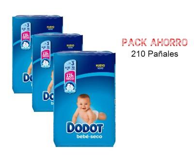PAÑALES DODOT BEBE SECO TALLA 3 (6 - 10 KILOS) PACK AHORRO 210 UNIDADES