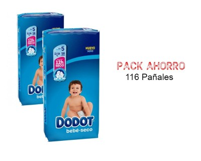 PAÑALES DODOT BEBE SECO TALLA 5 (11 - 16 KILOS) PACK AHORRO 116 UNIDADES