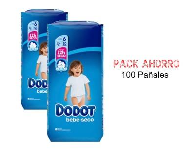 PAÑALES DODOT BEBE SECO TALLA 6 ( + DE 13 KILOS) PACK AHORRO 100 UNIDADES