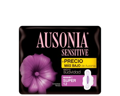 COMPRESAS AUSONIA SENSITIVE CON ALAS T/ SUPER 12 UNIDADES