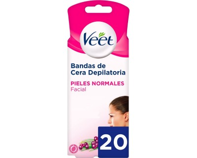 BANDA CERA DEPILATORIA FACIAL VEET PIEL NORMAL 20 UNIDADES