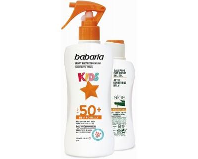 BABARIA KIDS SPRAY PROTECCION SOLAR FACTOR 50 - 200 ML + BALSAMO 100 ML